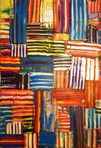 Bunt, Streifen, Warm, Malerei