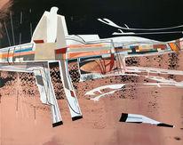 Zeitgenössisch, Acrylmalerei, Futurismus, Abstrakt