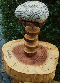 Gehirn, Holz, Keramik, Plastik