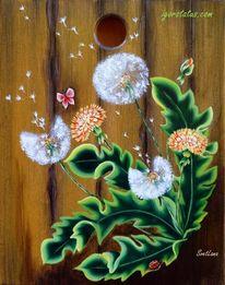Brett, Holz, Acrylmalerei, Blumen