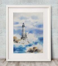 Himmel, Meer, Leuchtturm, Wind