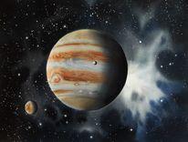 Universum, Planet, Stern, Aquarell