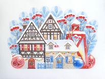 Winter, Schnee, Landschaft, Illustration