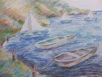 Boot, Ufer, Küste, Zeichnungen
