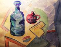 Tisch, Flasche, Vase, Aquarell