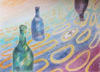 Uhr, Ellipse, Gekrümmter raum, Flasche