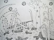 Heuschrecke, Insekt, Stein, Zeichnungen