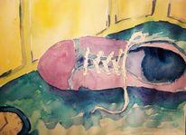 Schuhe, Uhr, Wandecke, Aquarell