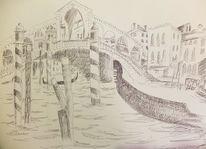 Venedig, Gondel, Brücke, Zeichnungen