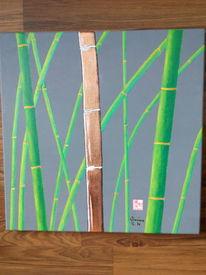 Acrylmalerei, Chinesisch kupfer, Malerei, Bambus