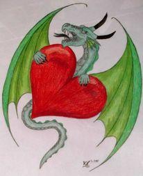 Fantasie, Herz, Rot, Drache