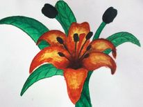 Lilie, Acrylmalerei, Blumen, Malerei