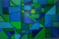 Blau, Grün, Geometrisch, Abstrakt