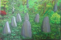 Malerei, Acrylmalerei, Grün, Landschaft
