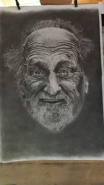 Alter mann, Bart, Zeichnung, Opa