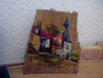 Malerei, Holz, Ölmalerei, Haus
