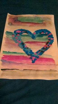 Konfetti, Gouachemalerei, Flying heart, Malerei