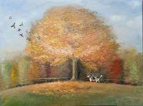 Hund, Landschaft, Ölmalerei, Baum