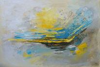 Gelb, Türkis, Ölmalerei, Abstrakt