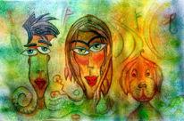 Familie, Frau, Runen, Hund