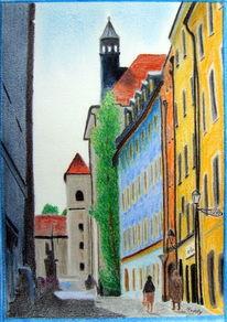 Haus, Passau, Stadt, Malerei