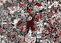 Geometrie, Rot schwarz, Perspektive, Freehandart