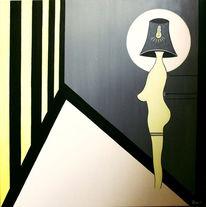 Geometrie, Acrylmalerei, Schwarz weiß, Gelb