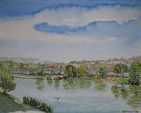 Hattingen, Ruhr, Aquarellmalerei, Wasser