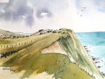 Aquarellmalerei, Kreidefelsen, Steilküste, Wasser