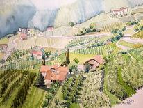 Südtirol, Aquarellmalerei, Meran, Aquarell