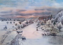 Spiegelung, Ruhr, Baum, Winter