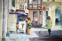 Stadtszene, Hund, Menschen, Schatten