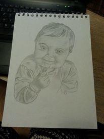 Baby, Bleistiftzeichnung, Kleinkind, Schwarz weiß