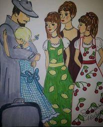 Familie, Abscied, Vater, Zeichnungen