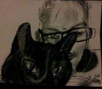 Mann, Katze, Portrait, Zeichnungen