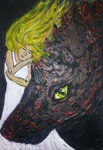 Frau, Monster, Augen, Malerei