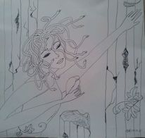 Sehnsucht, Fantasie, Medusa, Zeichnungen