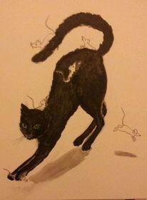 Katze, Maus, Fantasie, Malerei