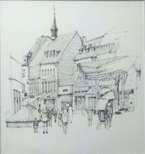 Urban sketch, Innenstadt, Tuschmalerei, Zeichnungen
