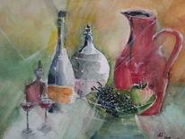 Flasche, Stillleben, Weintrauben, Karaffe