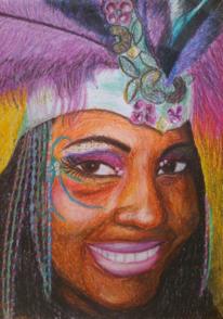 Frau, Pastellmalerei, Karneval, Zeichnungen