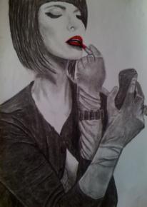 Lippenstift, Frau, Kohlezeichnung, Rot