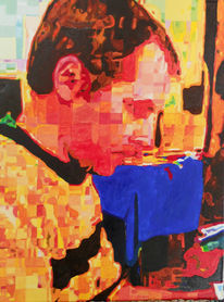 Portrait, Ölmalerei, Malerei, Abstrakt