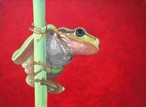 Frosch, Rot, Ölmalerei, Grün