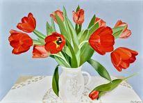 Fotorealistische malerei, Vase, Tulpen, Strauß