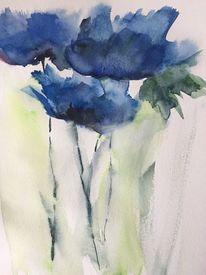 Blumen, Frühling, Aquarellmalerei, Mohn
