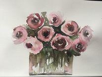 Rose, Strauß, Blumenstrauß, Aquarell