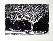 Schwarz, Grafik, Baum, Holzdruck