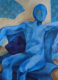 Figur, Sessel, Blau, Malerei