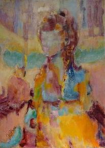 Frau, Venedig, Katze, Malerei